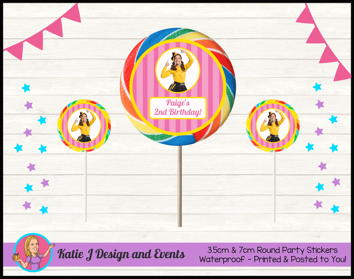 Personalised Pink Stripe Emma Wiggle Birthday Party Round Lollipop Stickers