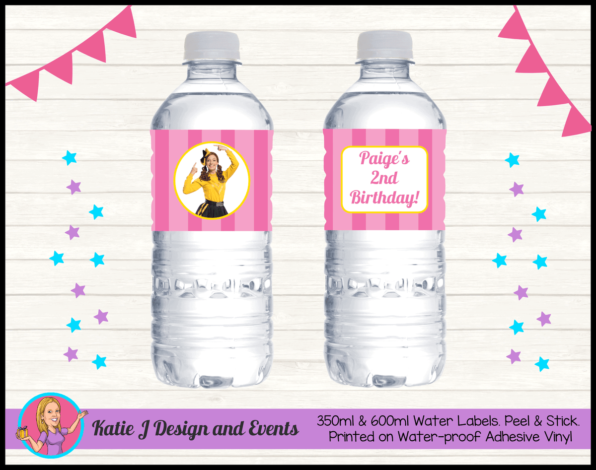 Personalised Pink Stripe Emma Wiggle Birthday Party Water labels