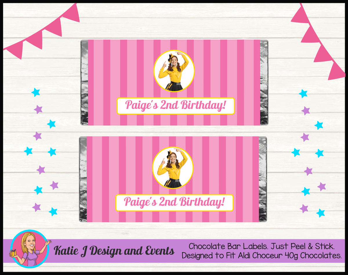 Personalised Pink Stripe Emma Wiggle Birthday Party Chocolate Labels Wrappers