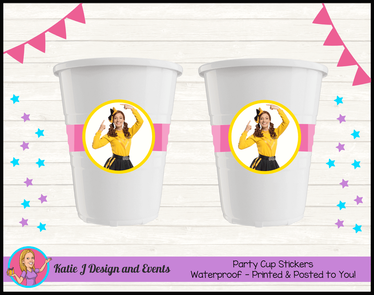 Personalised Pink Stripe Emma Wiggle Birthday Party Cup Stickers Cups