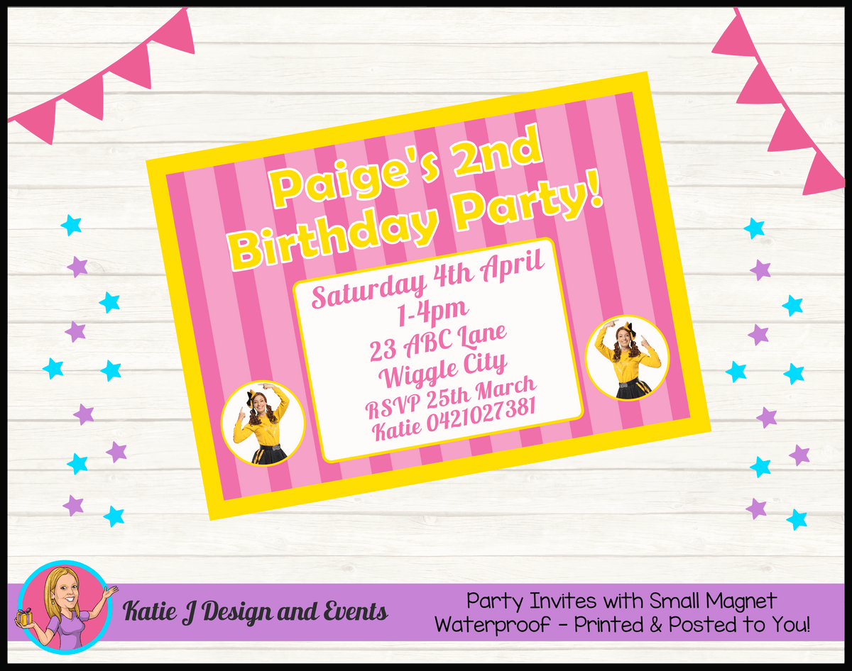 Personalised Pink Stripe Emma Wiggle Birthday Party Invites Invitations