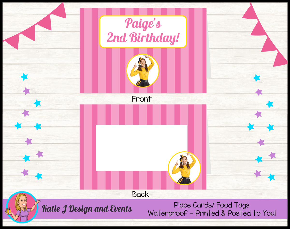 Personalised Pink Stripe Emma Wiggle Birthday Party Place Cards