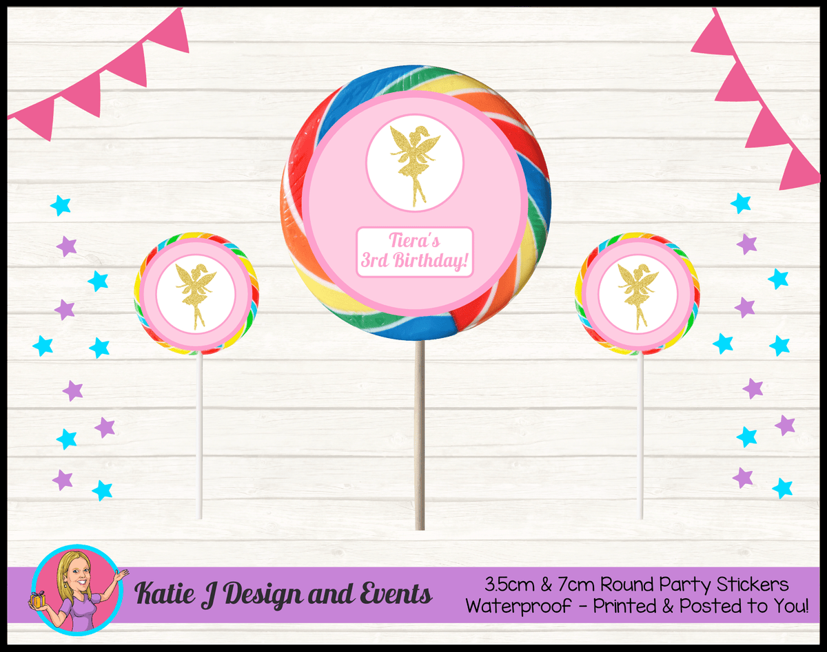 Personalised Pink & Gold Fairy Birthday Party Round Lollipop Stickers