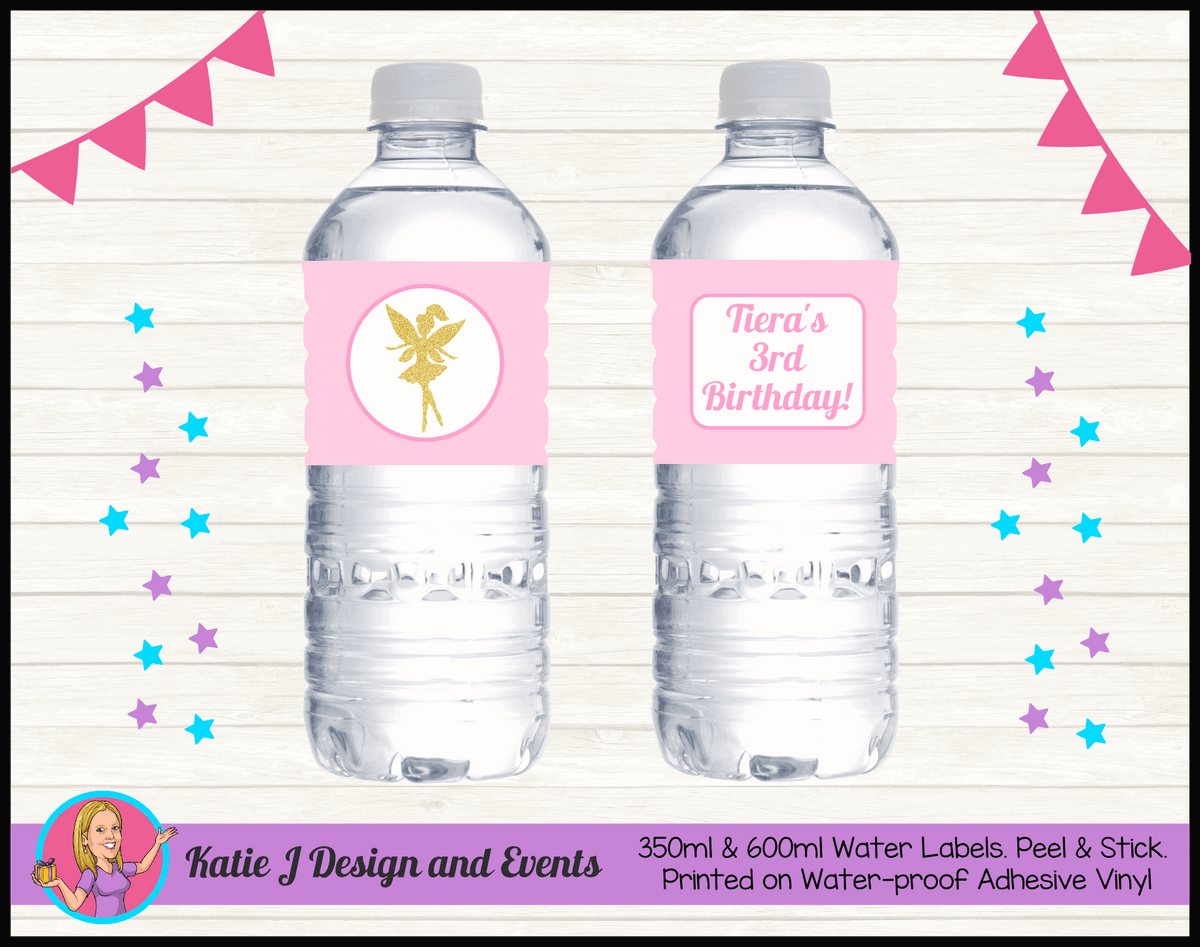 Personalised Pink & Gold Fairy Birthday Party Water Bottle Labels