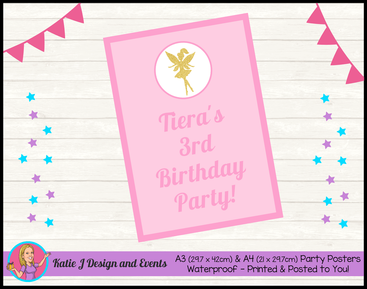 Personalised Pink & Gold Fairy Birthday Party Poster