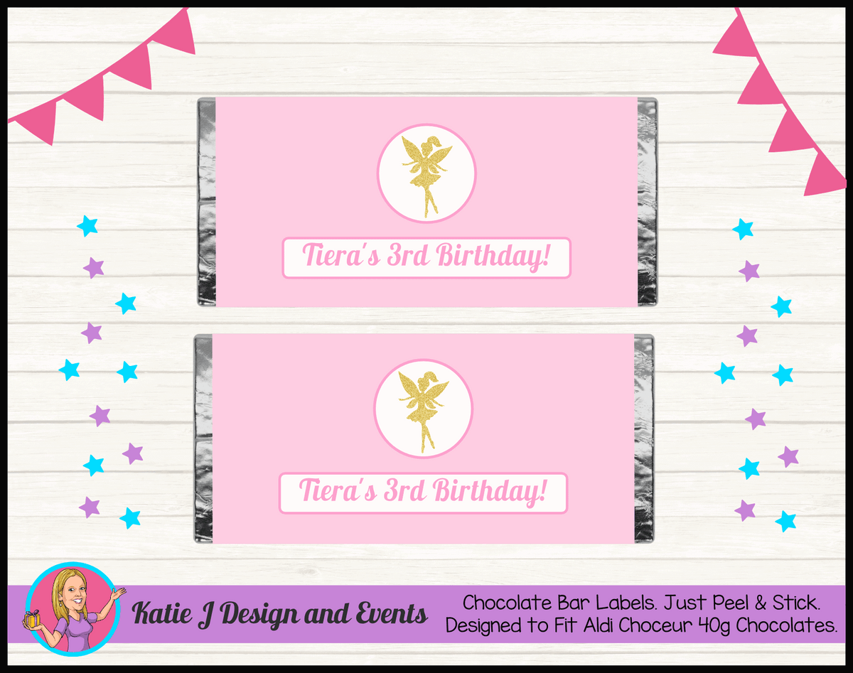 Personalised Pink & Gold Fairy Birthday Party Chocolate Bar Wrappers