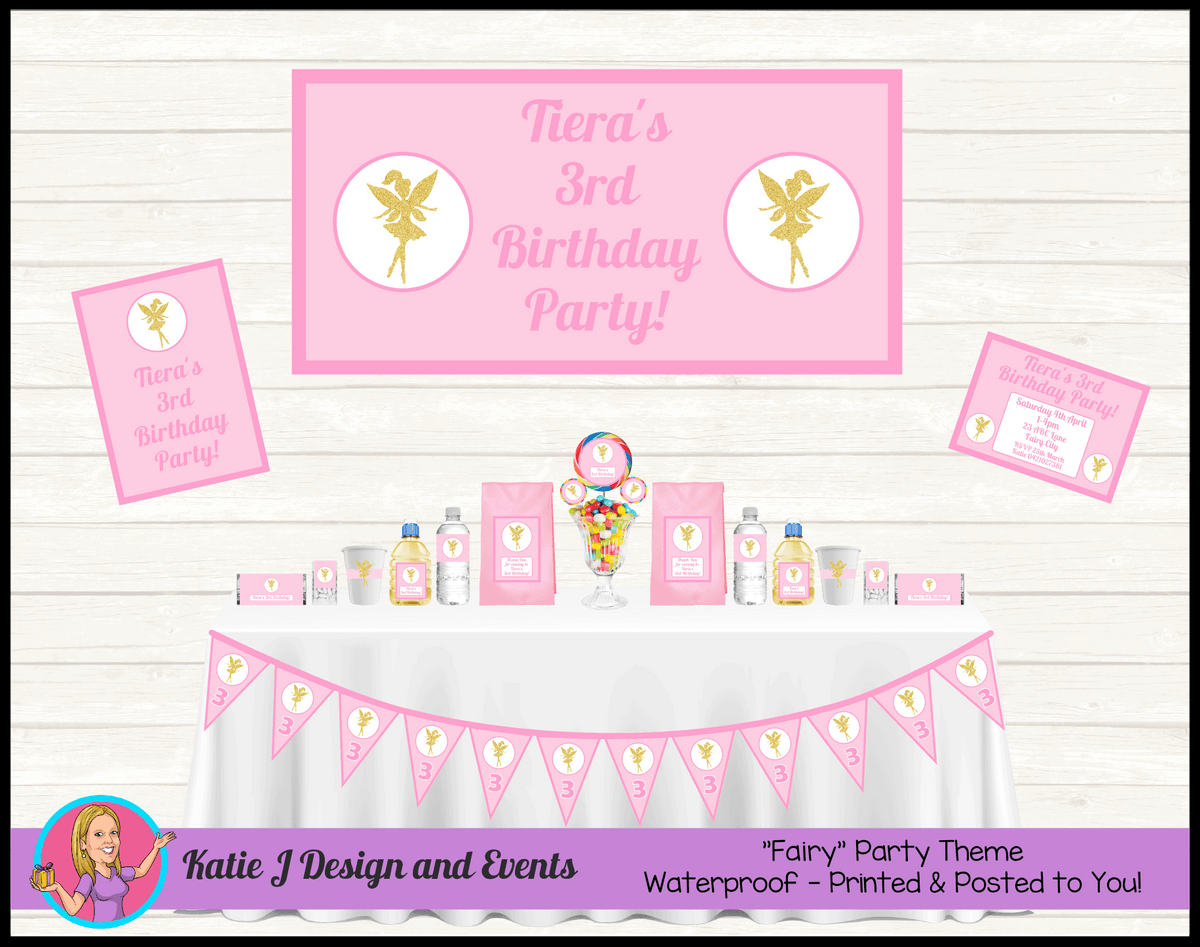 Personalised Pink & Gold Fairy Party Packs Decorations Supplies