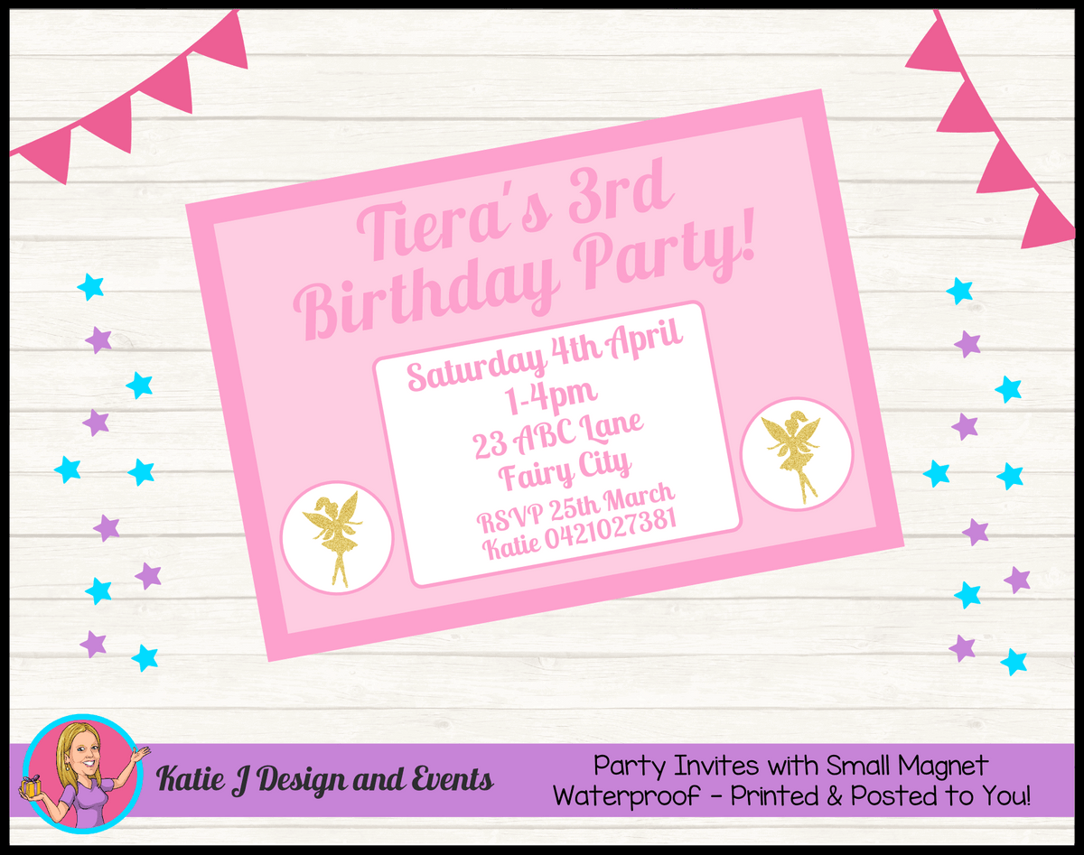 Personalised Pink & Gold Fairy Birthday Party Invites Invitations