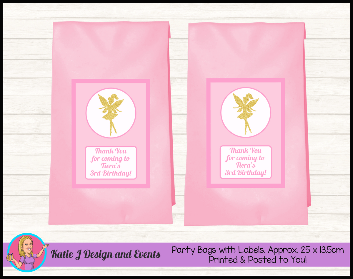 Personalised Pink & Gold Fairy Birthday Party Loot Bags
