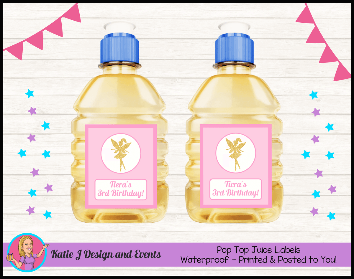 Personalised Pink & Gold Fairy Birthday Party Pop Top Juice Labels