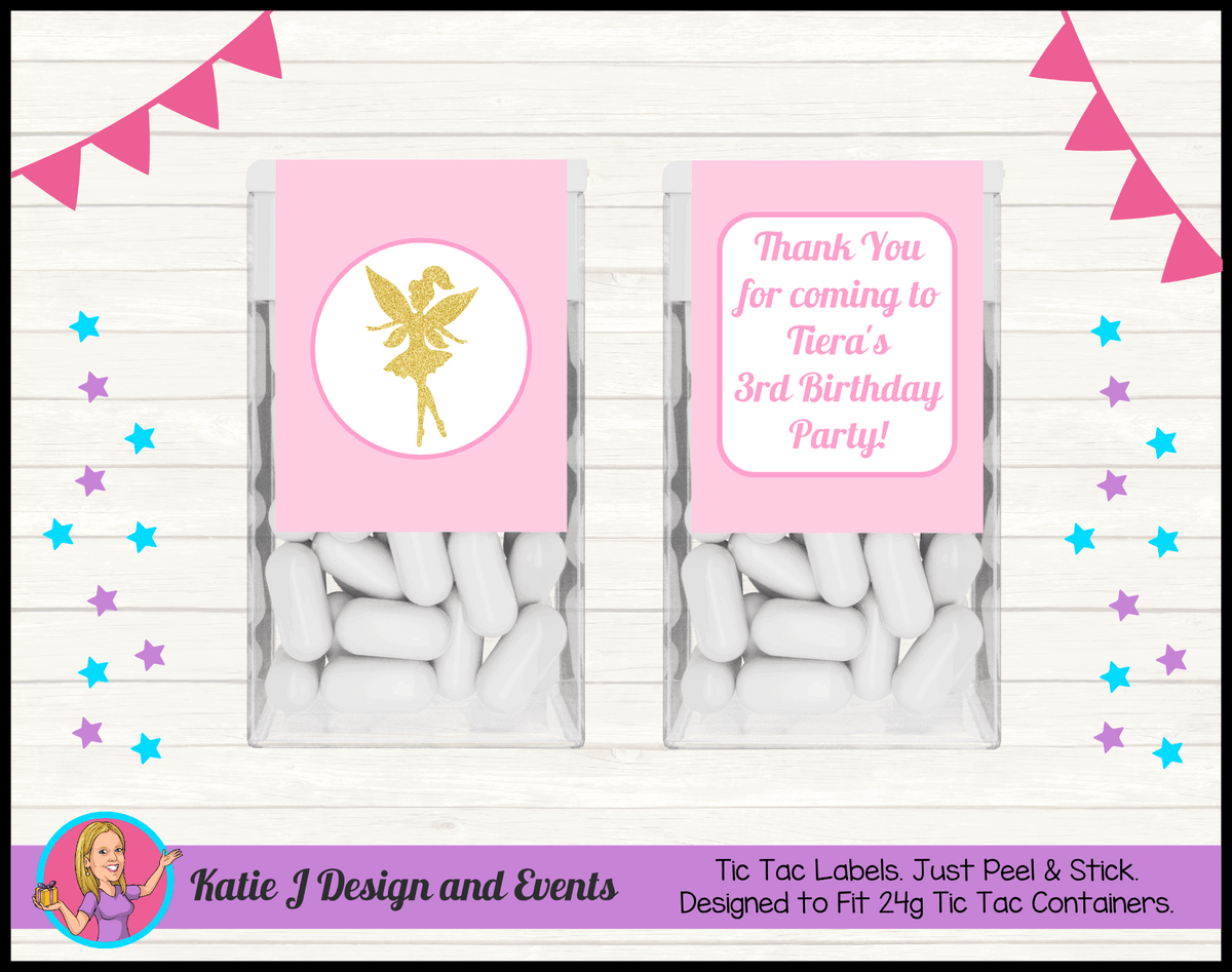 Personalised Pink & Gold Fairy Birthday Party Tic Tac Mint Labels