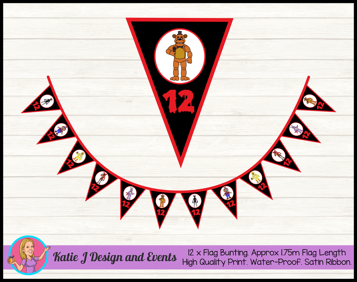 Personalised FNAF Five Nights at Freddys Birthday Party Flag Bunting