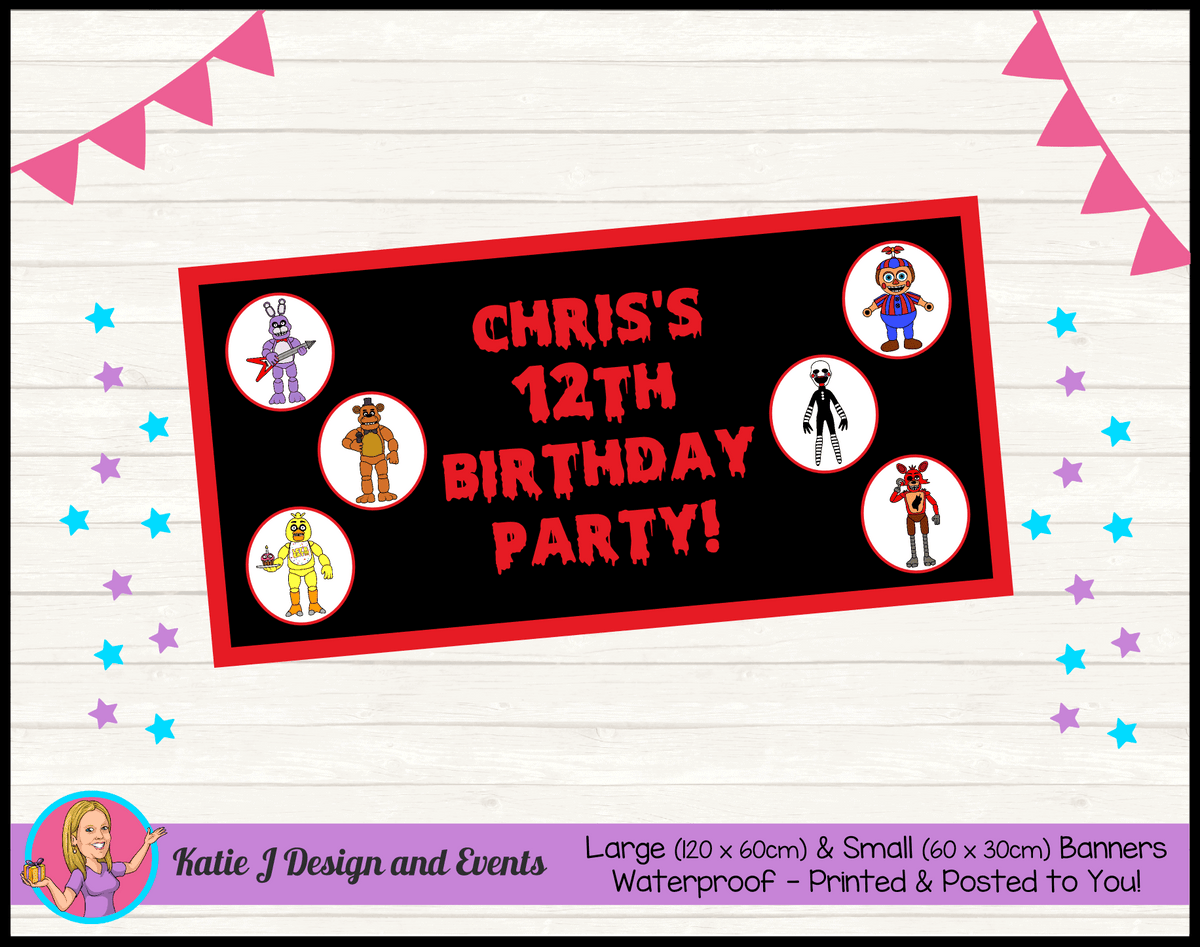 Personalised FNAF Five Nights at Freddys Birthday Party Banner