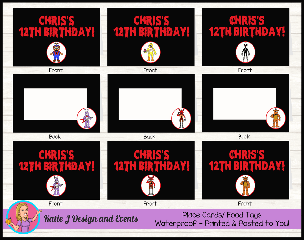 Personalised FNAF Five Nights at Freddys Birthday Party Place Cards