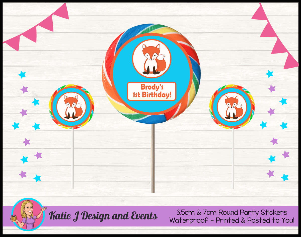 Personalised Fox Birthday Party Round Lollipop Stickers