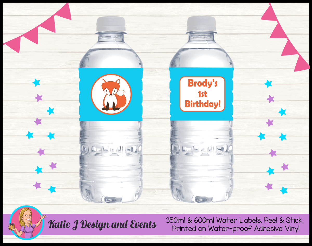 Personalised Fox Birthday Party Water Bottle Labels
