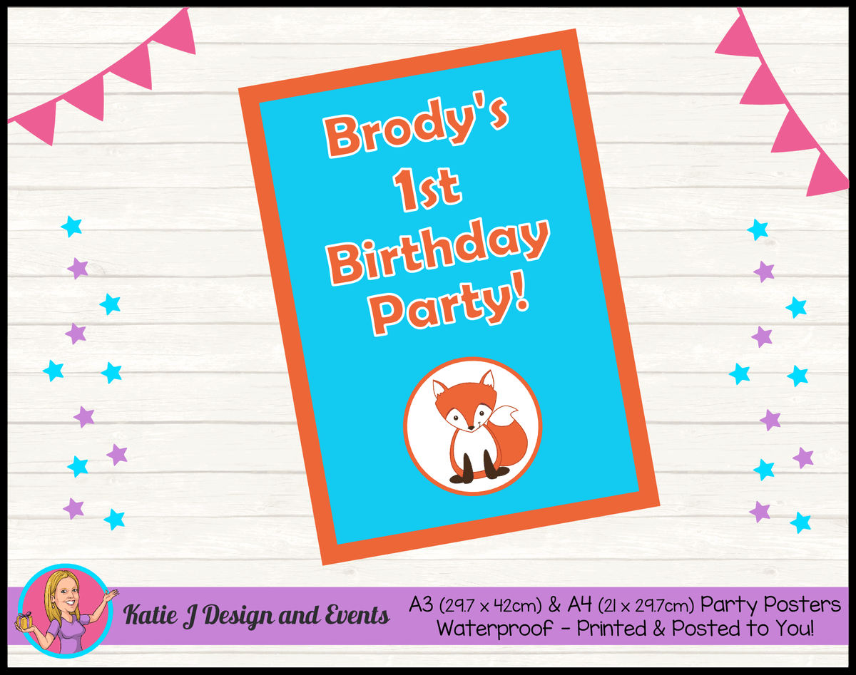 Personalised Fox Birthday Party Poster