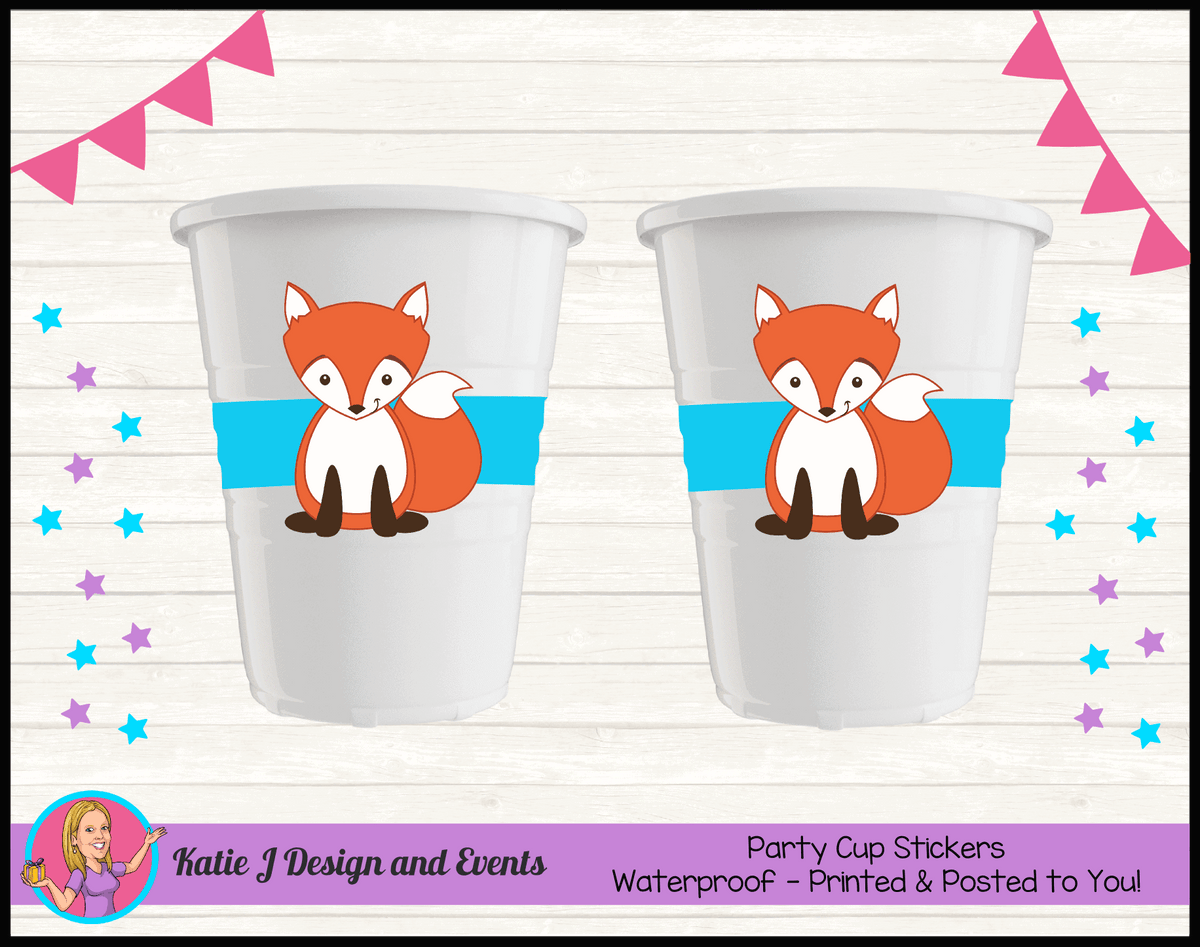 Personalised Fox Birthday Party Cup Stickers Cups