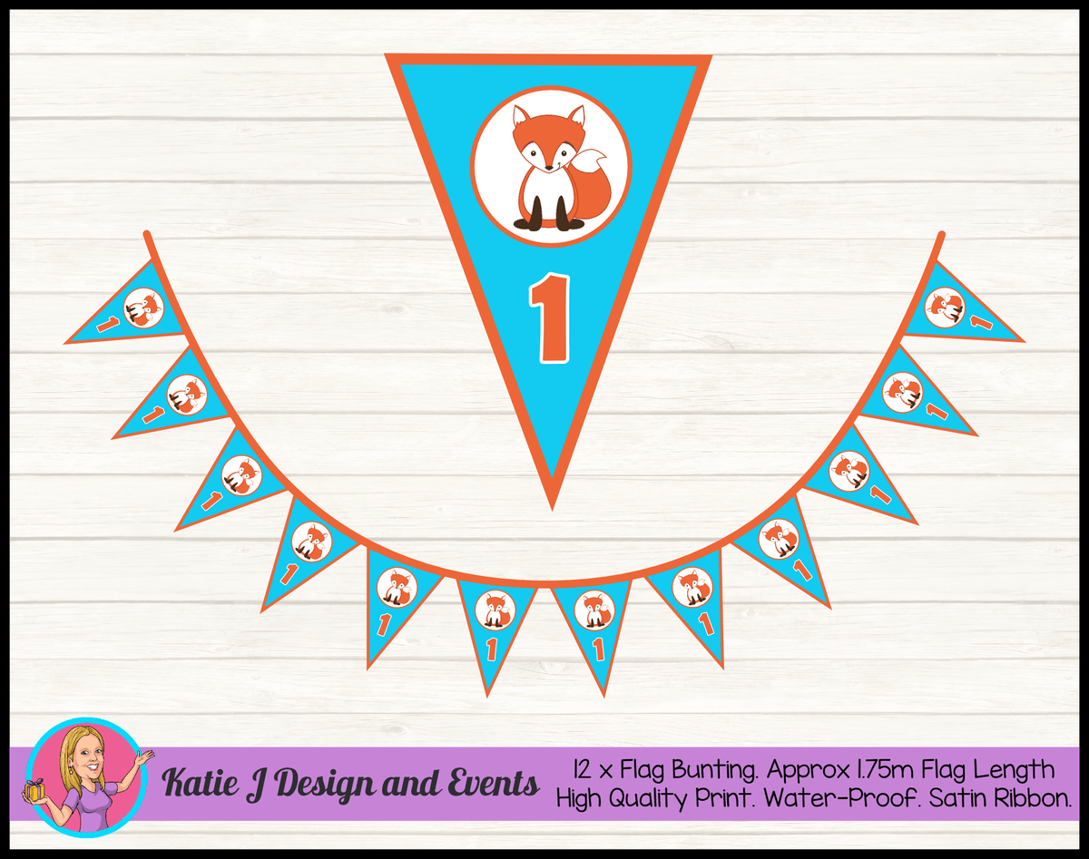Personalised Fox Birthday Party Flag Bunting