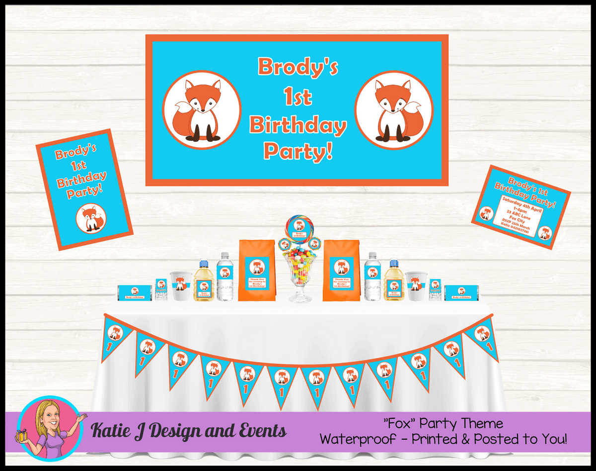 Personalised Blue & Orange Fox Party Packs Decorations Supplies