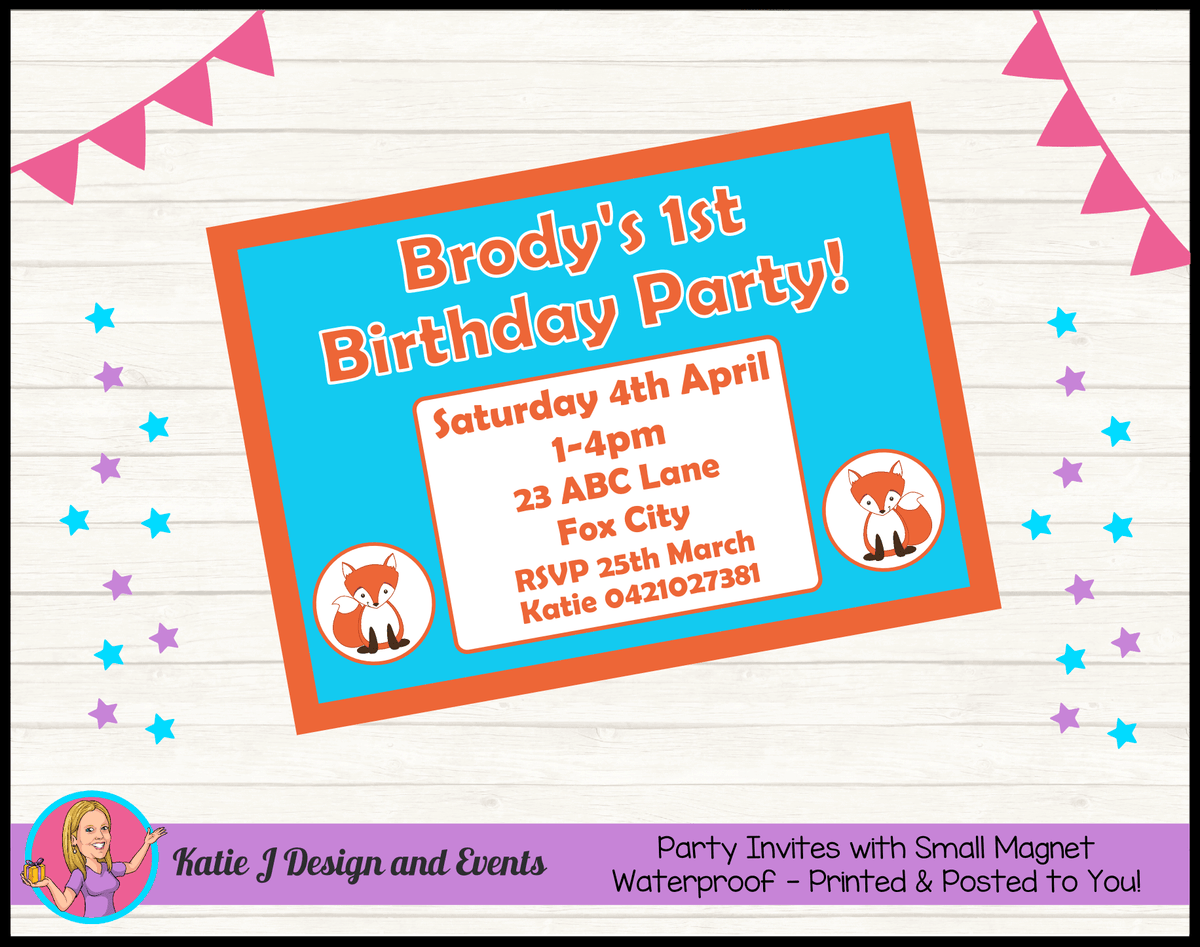 Personalised Fox Birthday Party Invites Invitations