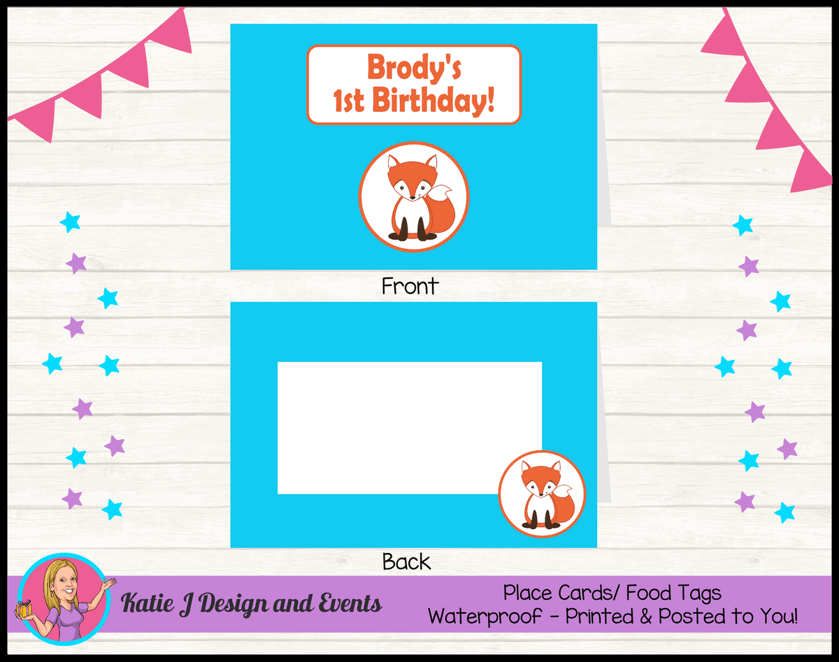 Personalised Fox Birthday Party Place Cards