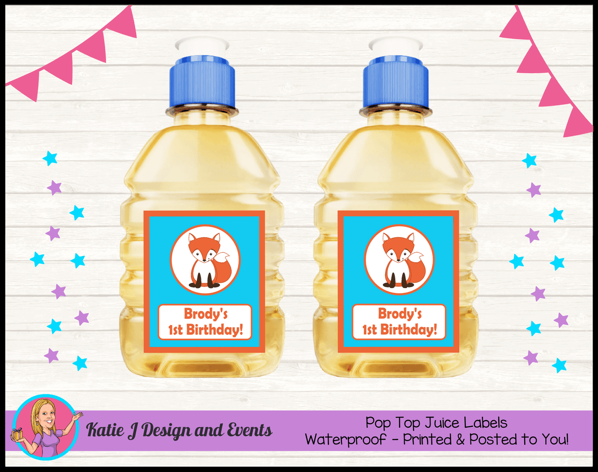 Personalised Fox Birthday Party Pop Top Juice Labels