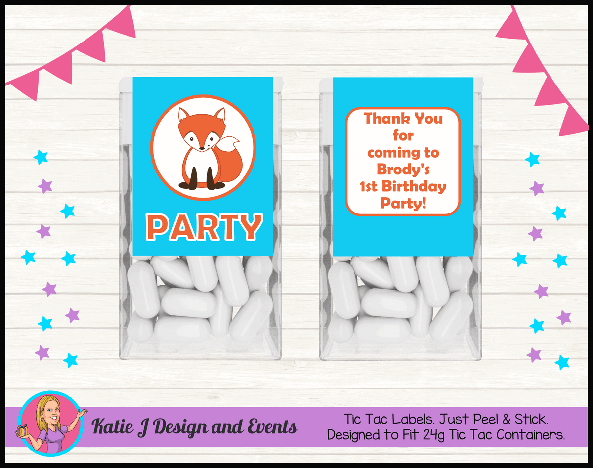 Personalised Fox Birthday Party Tic Tac Mint Labels