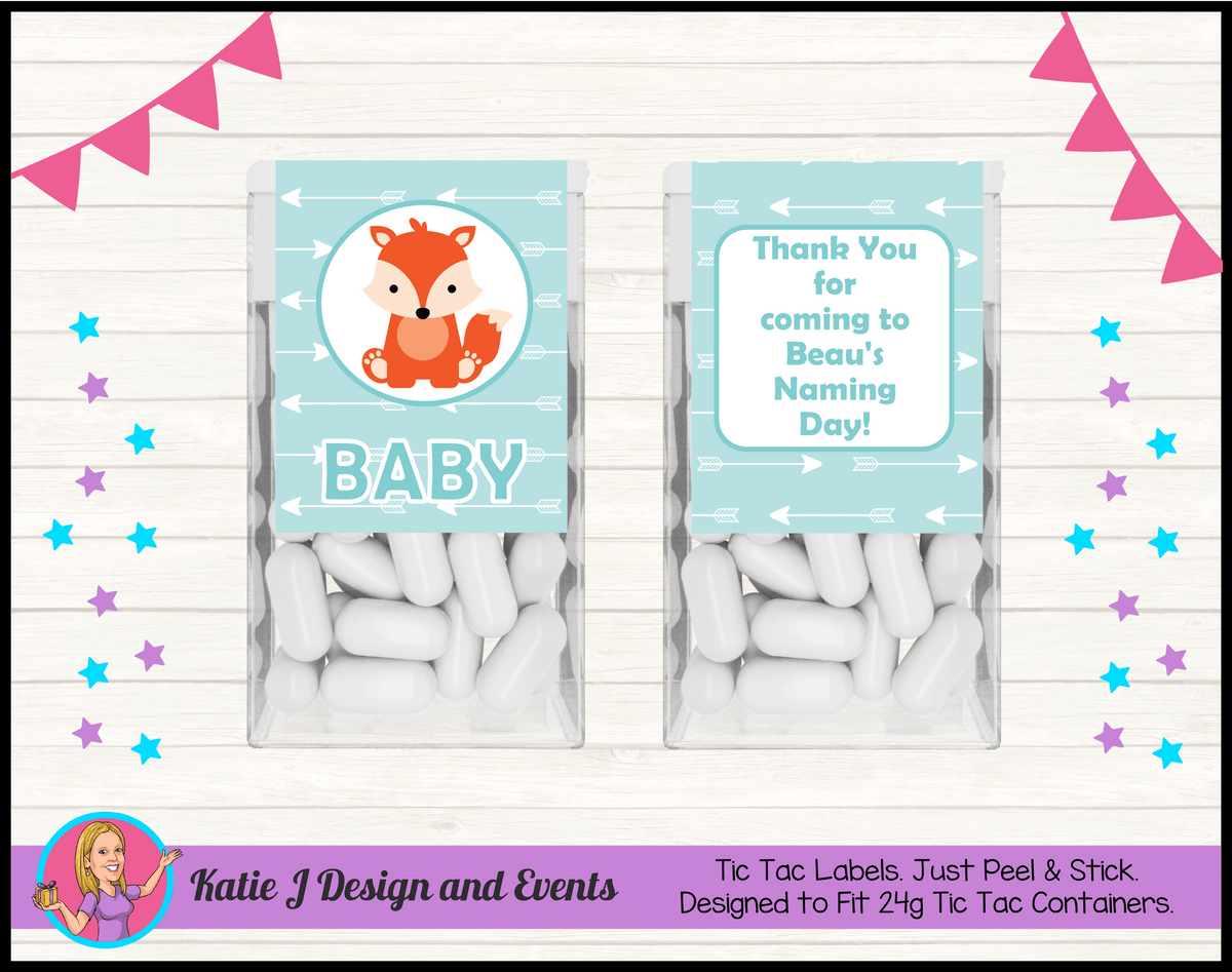 Personalised Tribal Fox Naming Day Tic Tac Mint Labels