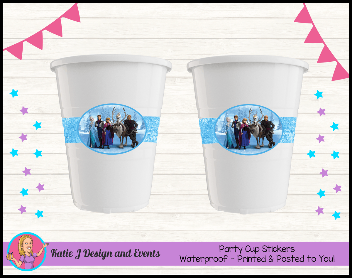 Personalised Frozen Birthday Party Cup Stickers Cups