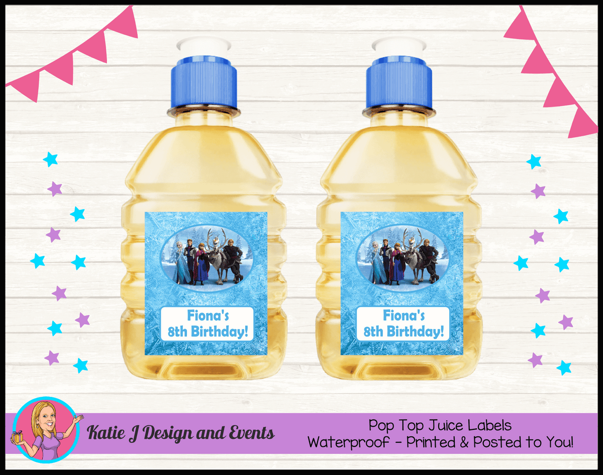 Personalised Frozen Birthday Party Pop Top Juice Labels