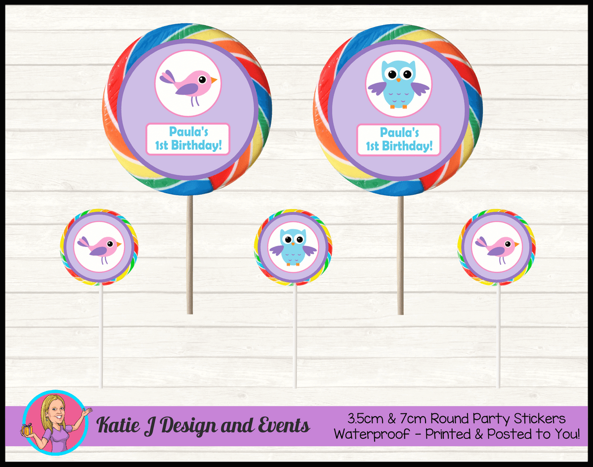 Girls Birds & Owl Personalised Birthday Party Round Lollipop Stickers