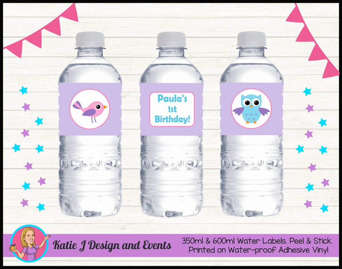 Girls Birds & Owl Personalised Birthday Party Water Bottle Labels