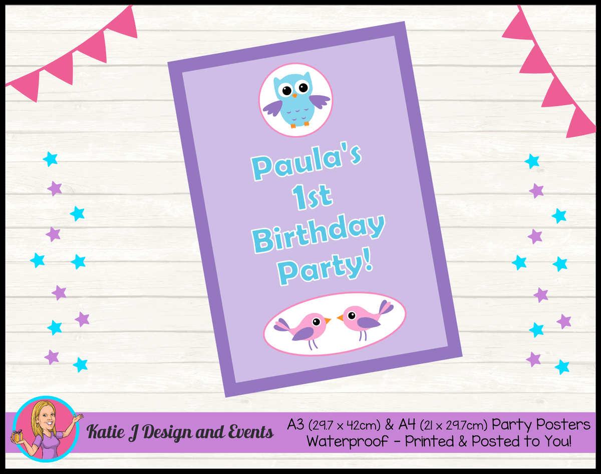 Girls Birds & Owl Personalised Birthday Party Posters