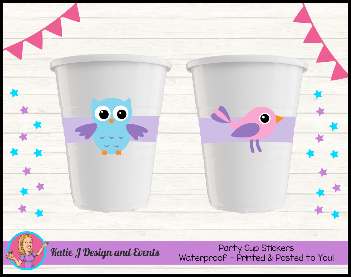 Girls Birds & Owl Personalised Birthday Party Cup Stickers Cups