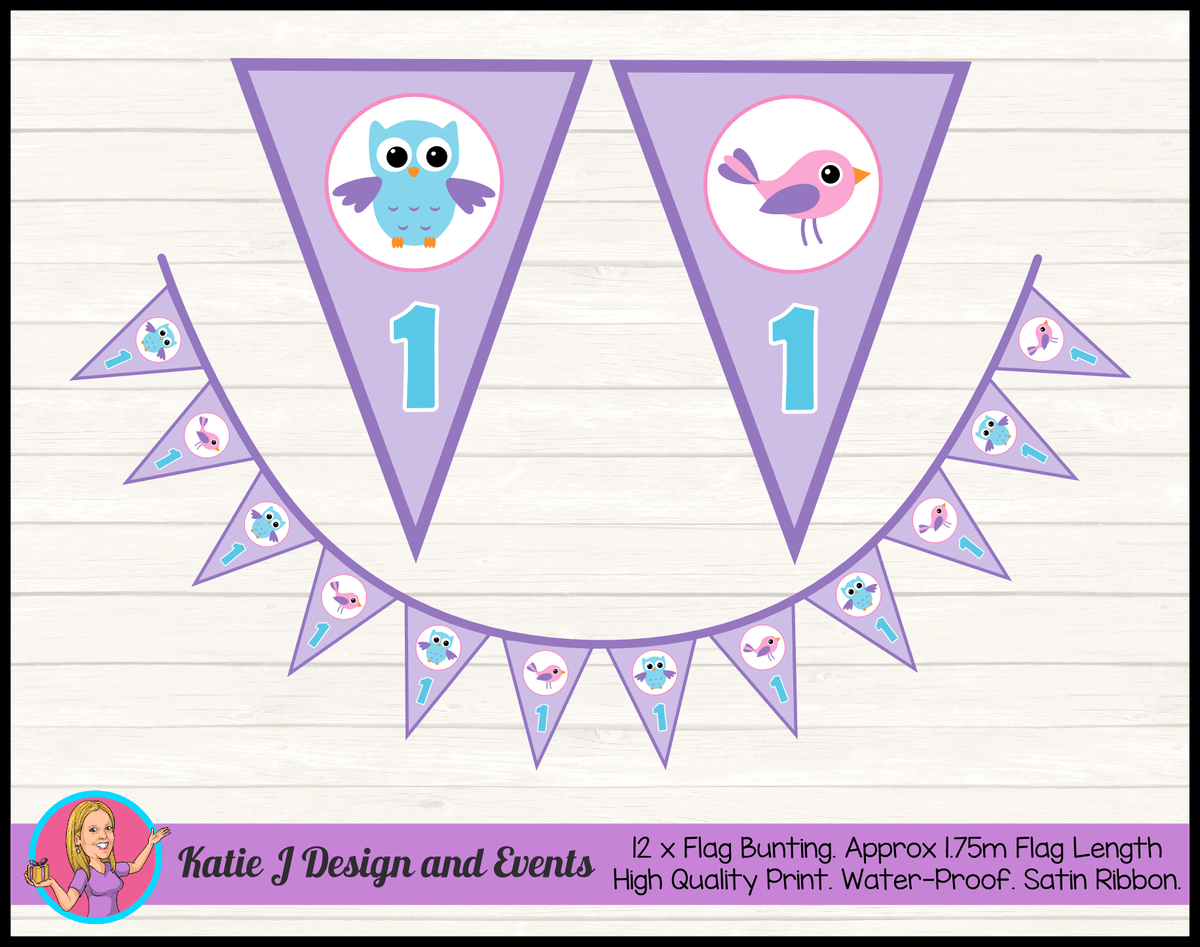 Girls Birds & Owl Personalised Birthday Party Flag Bunting
