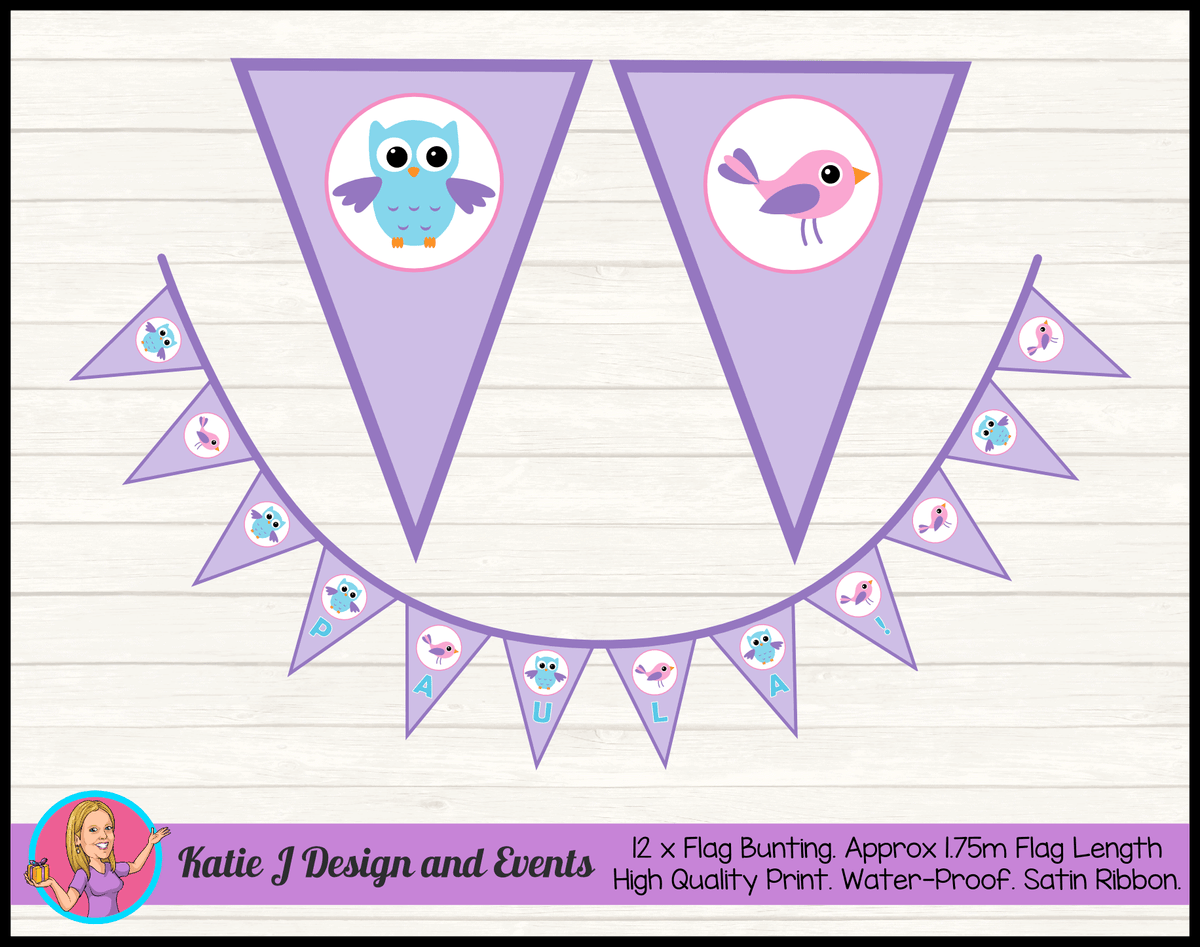 Girls Birds & Owl Personalised Birthday Party Flag Bunting Name
