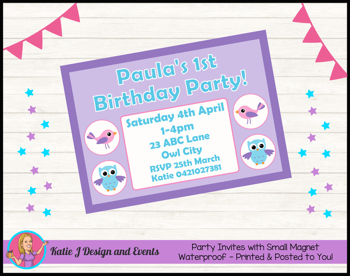 Girls Birds & Owl Personalised Birthday Party Invites Invitations