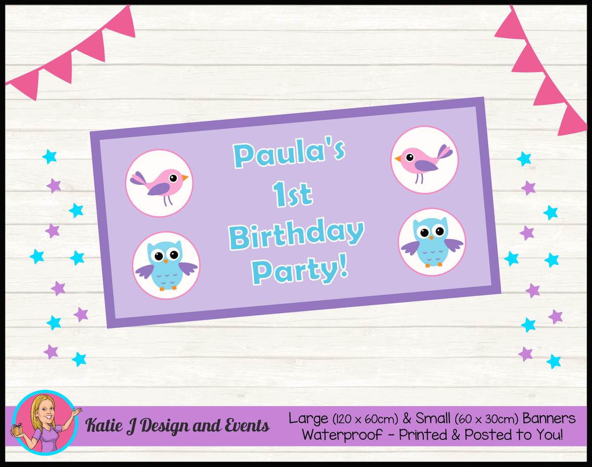 Girls Birds & Owl Personalised Birthday Party Banners