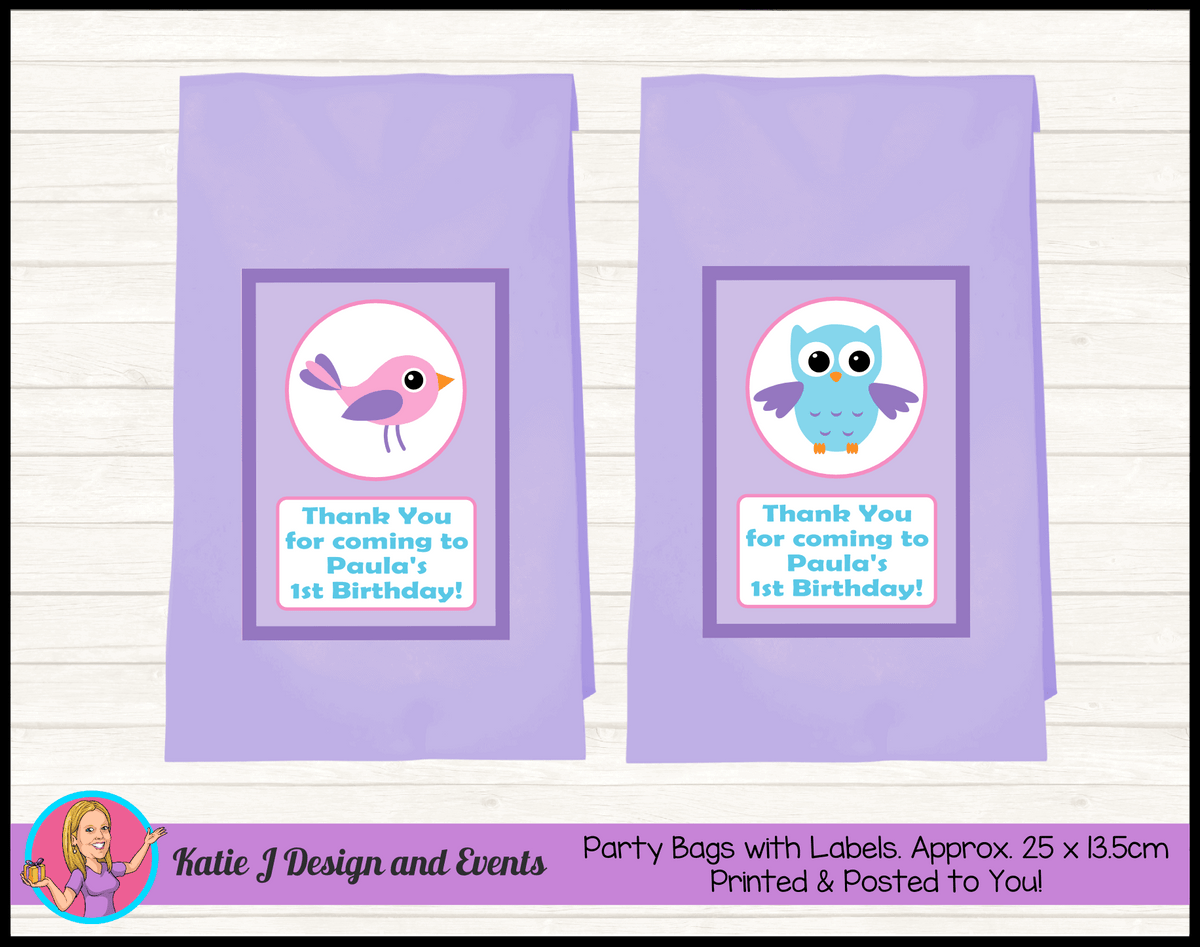 Girls Birds & Owl Personalised Birthday Party Loot Bags