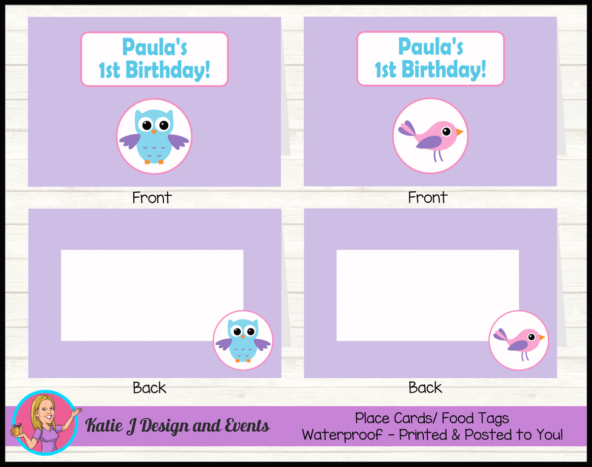 Girls Birds & Owl Personalised Birthday Party Place Cards