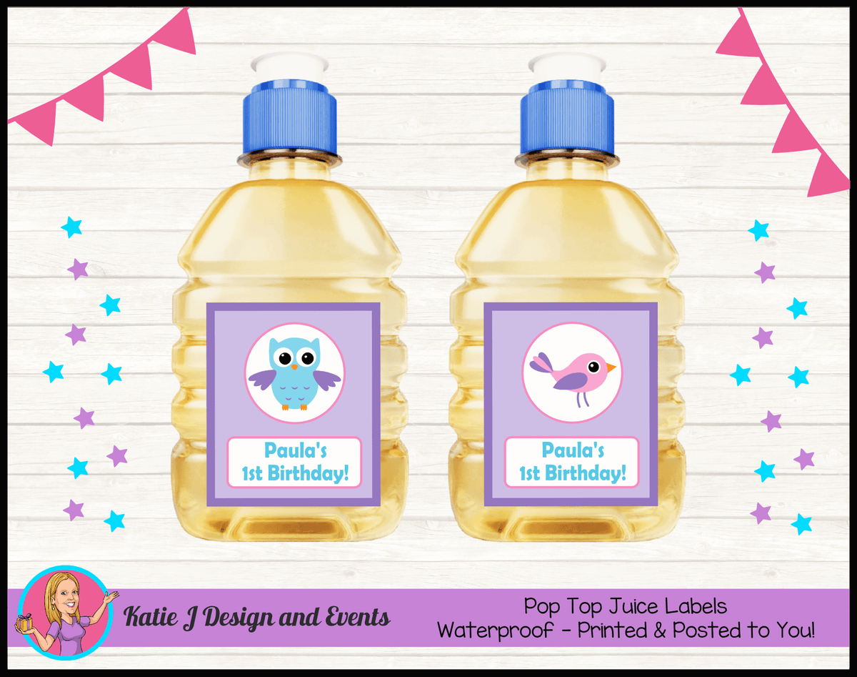 Girls Birds & Owl Personalised Birthday Party Pop Top Juice Labels