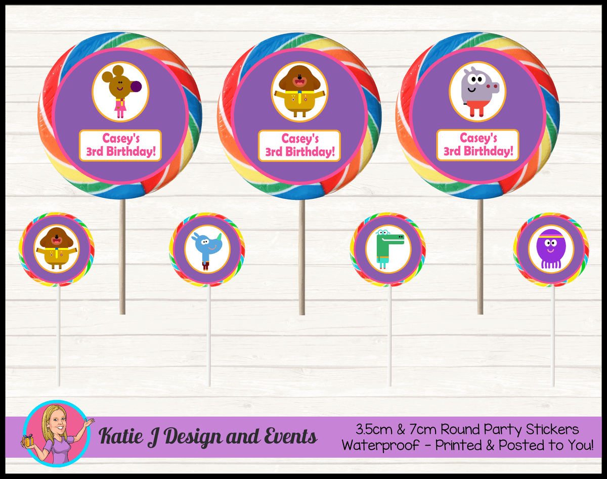 Personalised Girls Hey Duggee Birthday Party Round Lollipop Stickers