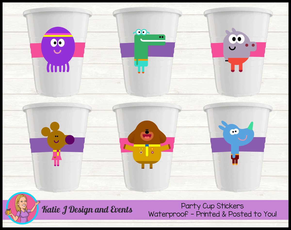 Personalised Girls Hey Duggee Birthday Party Cup Stickers Cups