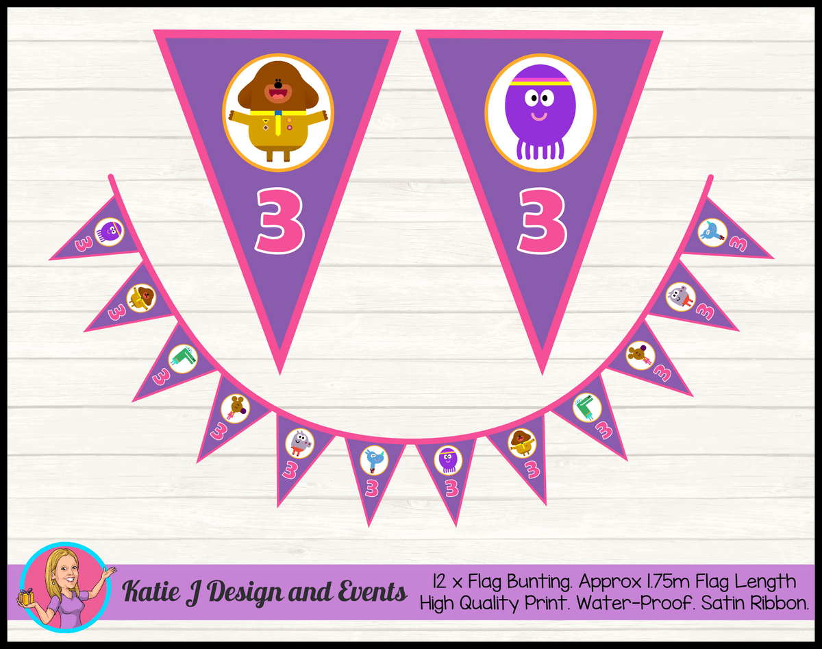 Personalised Girls Hey Duggee Birthday Party Bunting