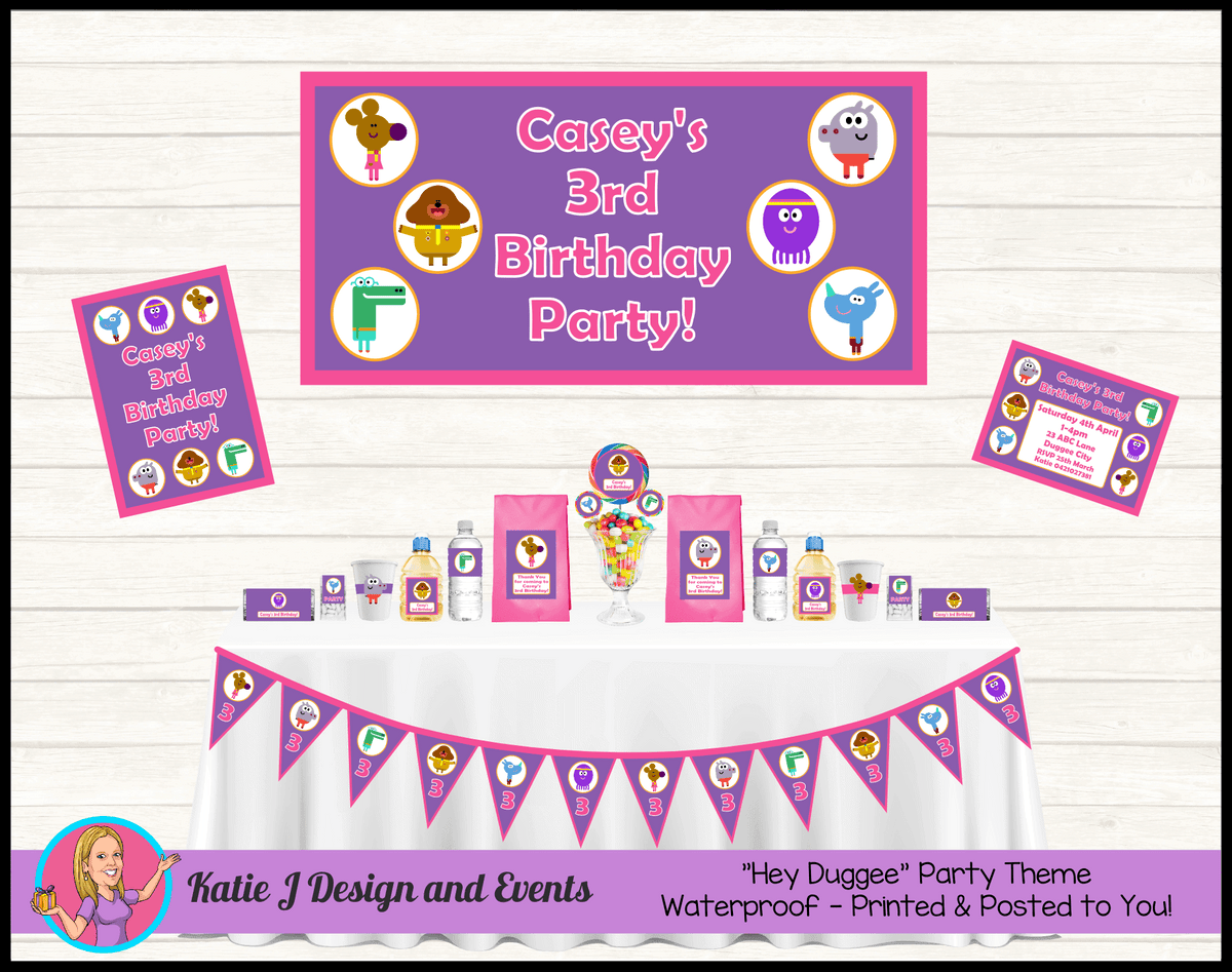 Personalised Girls Hey Duggee Party Packs Decorations Supplies