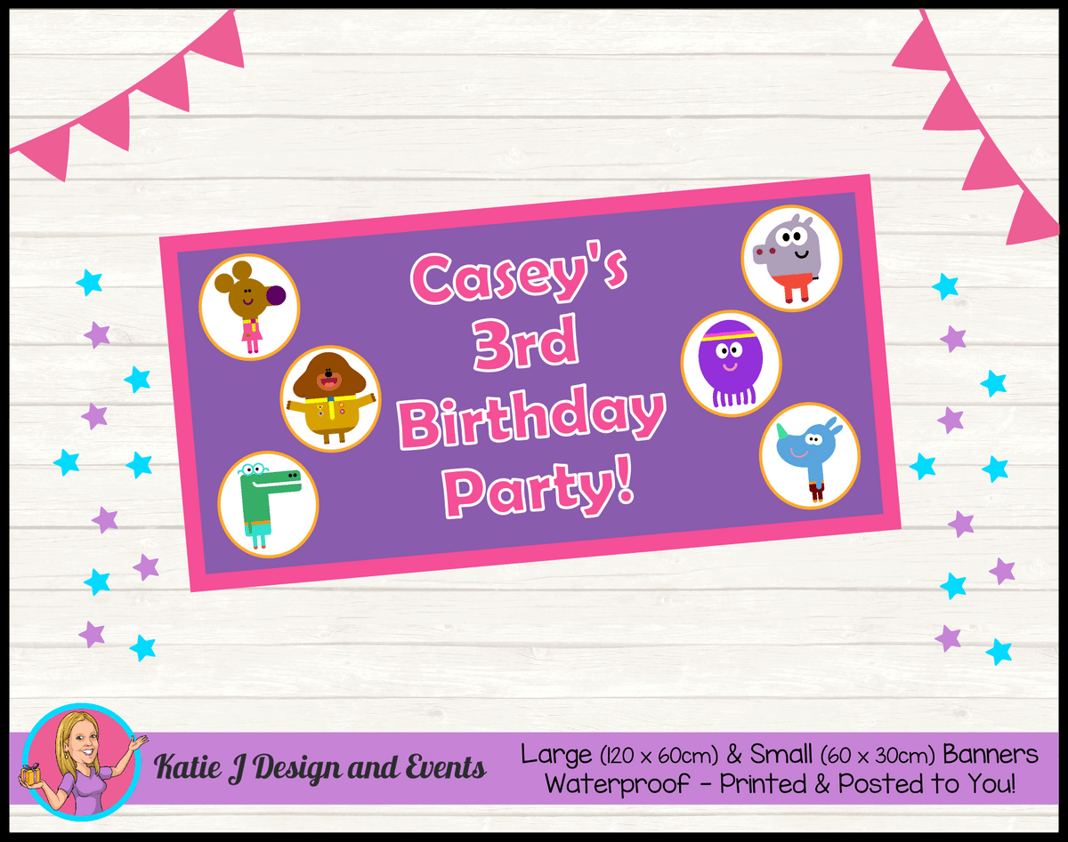Personalised Girls Hey Duggee Birthday Party Banner