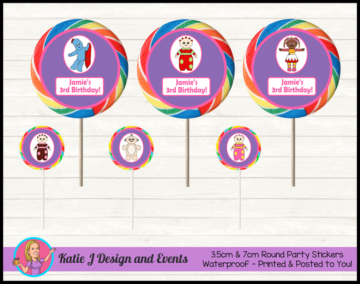Personalised Girls In the Night Garden Party Round Lollipop Stickers