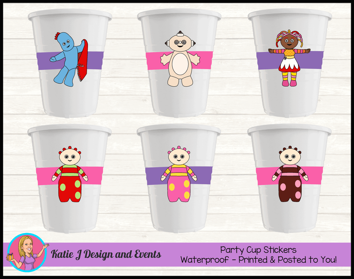 Personalised Girls In the Night Garden Party Cup Stickers Cups