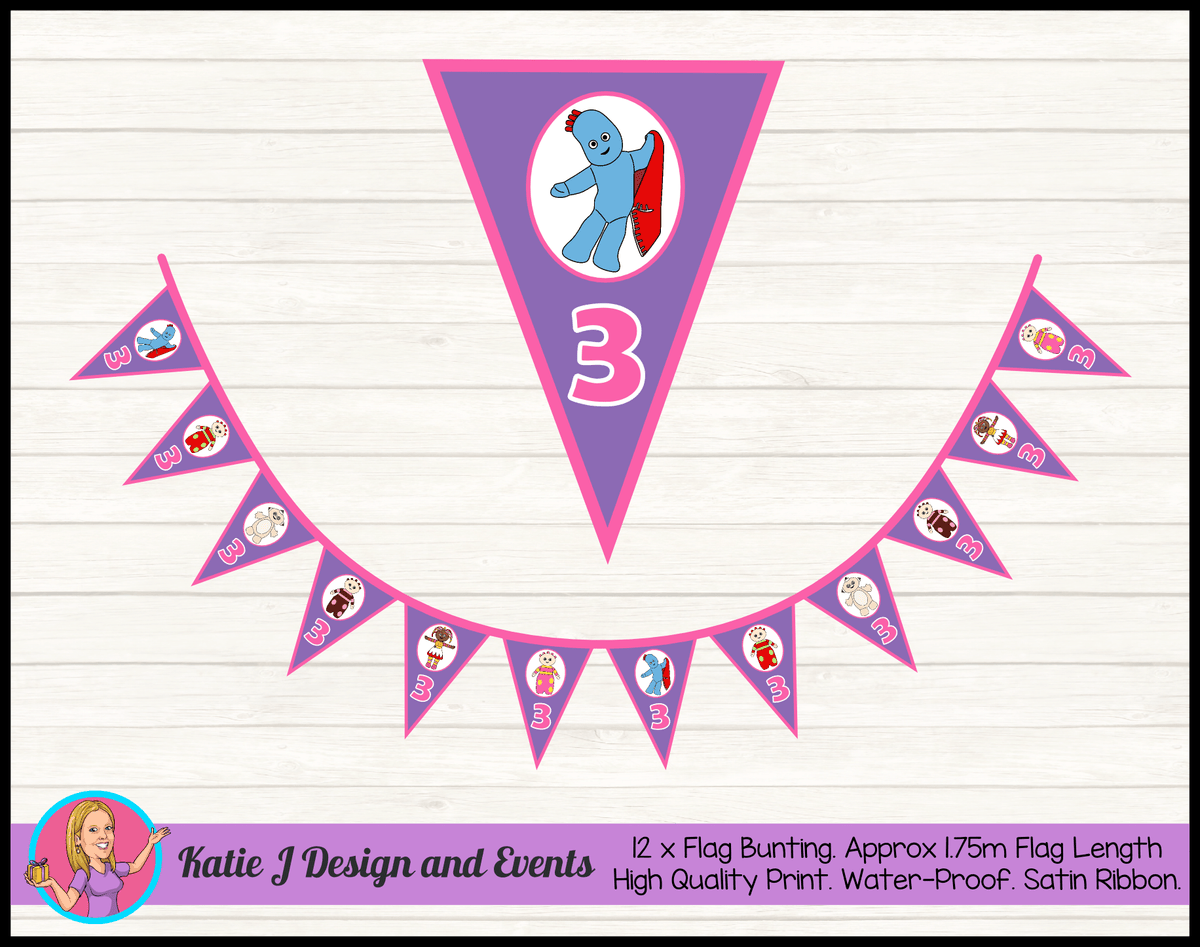 Personalised Girls In the Night Garden Birthday Party Flag Bunting